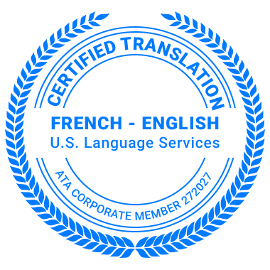 Certified French Translation Services - ATA Corporate Member