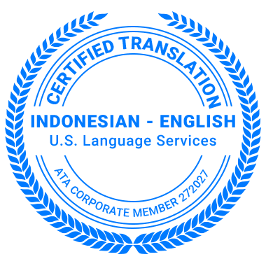 Certified Indonesian Translation Services - ATA Corporate Member