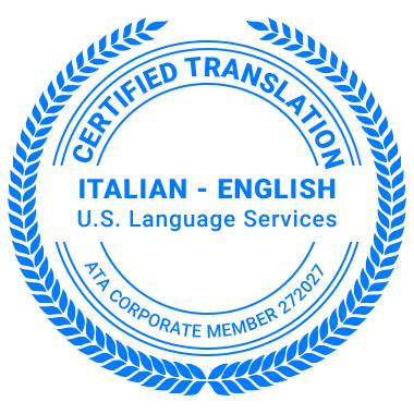 Certified Italian Translation Services - ATA Corporate Member