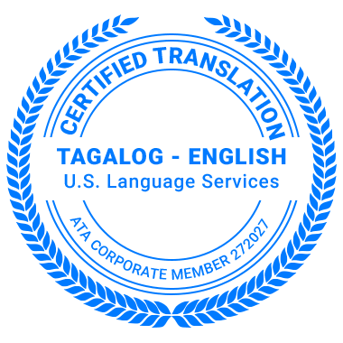 Certified Tagalog Translation Services - ATA Corporate Member