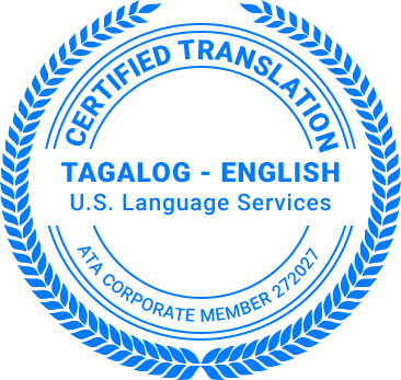 Certified Tagalog Translation