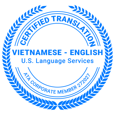 Certified Vietnamese Translation Services - ATA Corporate Member