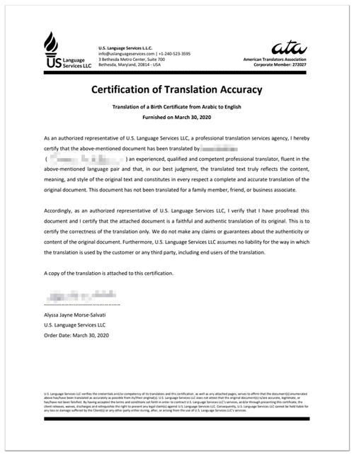 Certified Translation Sample